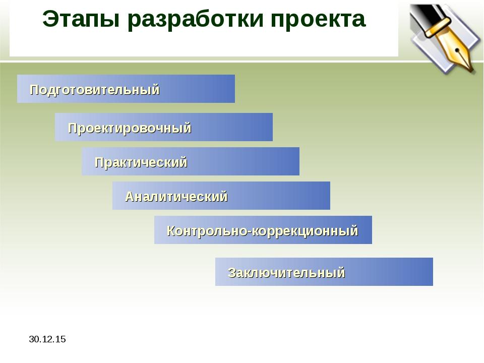 * Этапы разработки проекта Подготовительный Проектировочный Практический Анал...