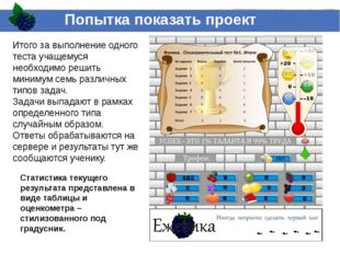 Попытка показать проект Статистика текущего результата представлена в виде та