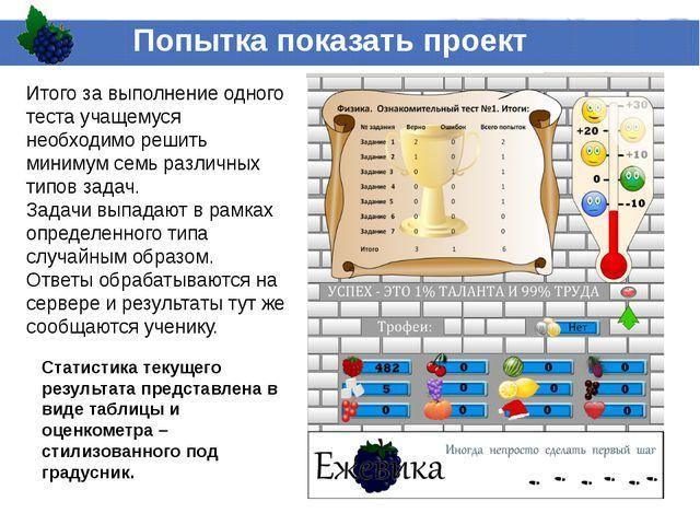 Попытка показать проект Статистика текущего результата представлена в виде та...