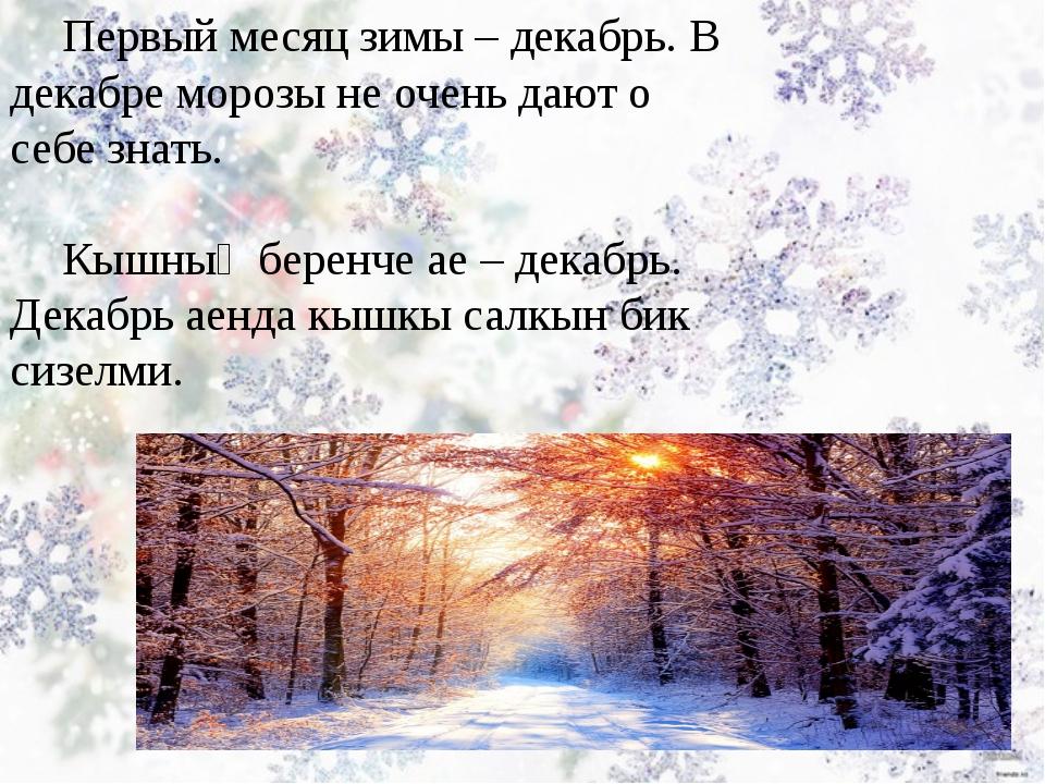 Первый месяц зимы – декабрь. В декабре морозы не очень дают о себе знать. Кыш...