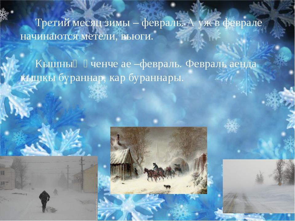 Третий месяц зимы – февраль. А уж в феврале начинаются метели, вьюги. Кышның...
