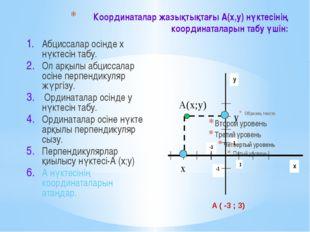 Координаталар жазықтықтағы А(х,у) нүктесінің координаталарын табу үшін: Абцис