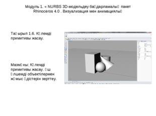 Модуль 1. « NURBS 3D-модельдеу бағдарламалық пакет Rhinoceros 4.0 . Визуализа