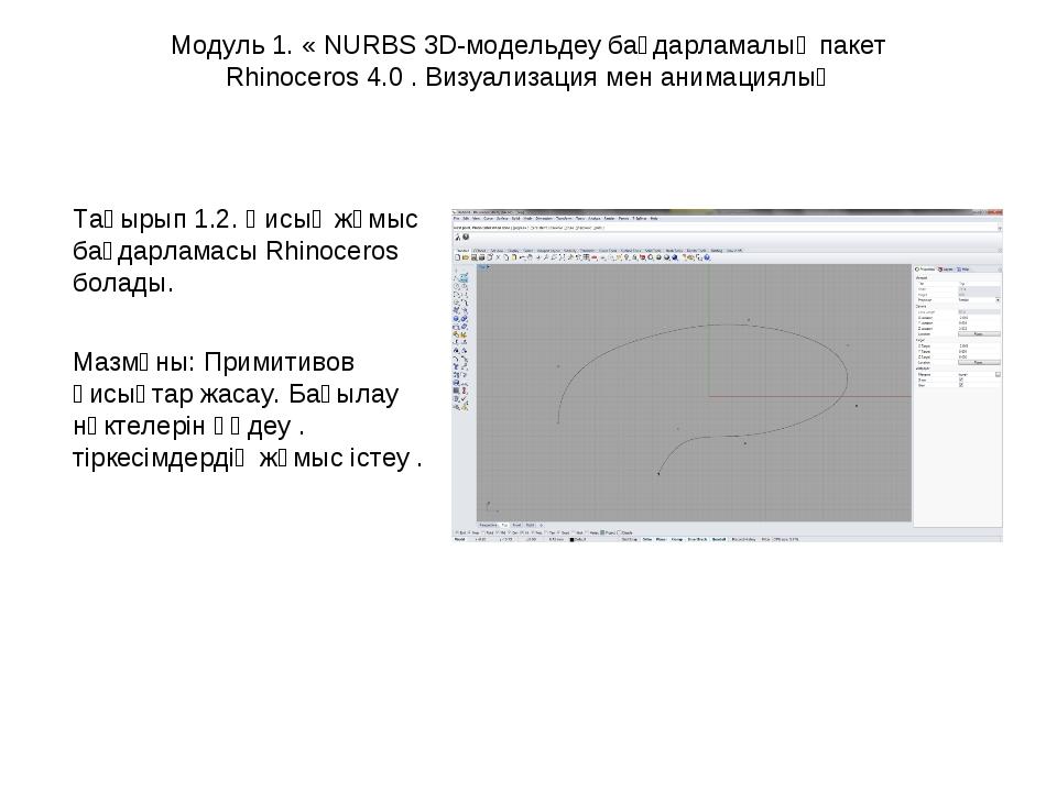Модуль 1. « NURBS 3D-модельдеу бағдарламалық пакет Rhinoceros 4.0 . Визуализа...