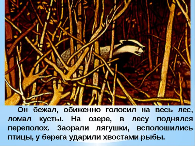 Он бежал, обиженно голосил на весь лес, ломал кусты. На озере, в лесу поднял...