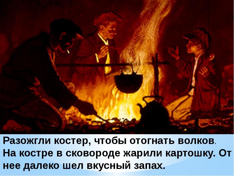 Разожгли костер, чтобы отогнать волков. На костре в сковороде жарили картошку...