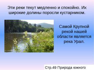 Эти реки текут медленно и спокойно. Их широкие долины поросли кустарником. Са