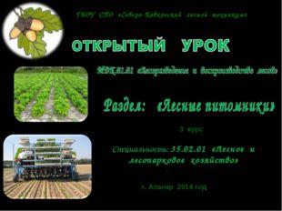 Специальность: 35.02.01 «Лесное и лесопарковое хозяйство» 3 курс г. Алагир 20