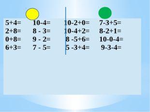 5+4=10-4= 10-2+0= 7-3+5= 2+8=8 - 3= 10-4+2=8-2+1= 0+8=9 - 2= 8 -5+6=10-0-4=