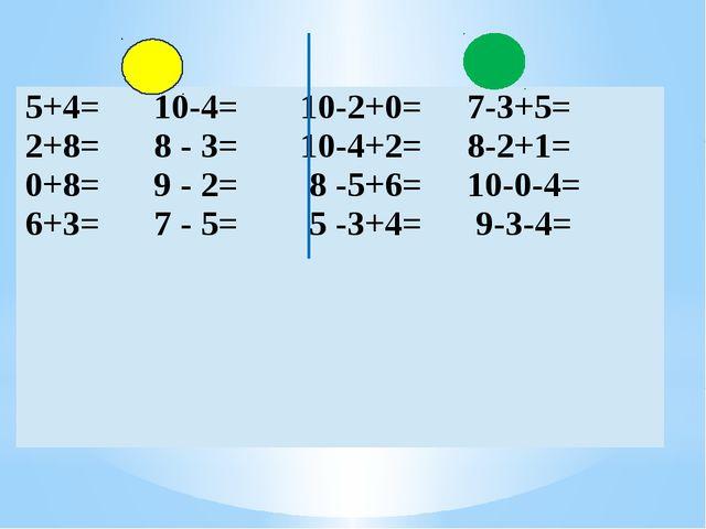 5+4=10-4= 10-2+0= 7-3+5= 2+8=8 - 3= 10-4+2=8-2+1= 0+8=9 - 2= 8 -5+6=10-0-4=...