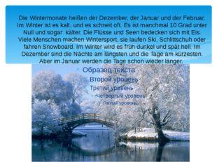 Die Wintermonate heißen der Dezember, der Januar und der Februar. Im Winter i