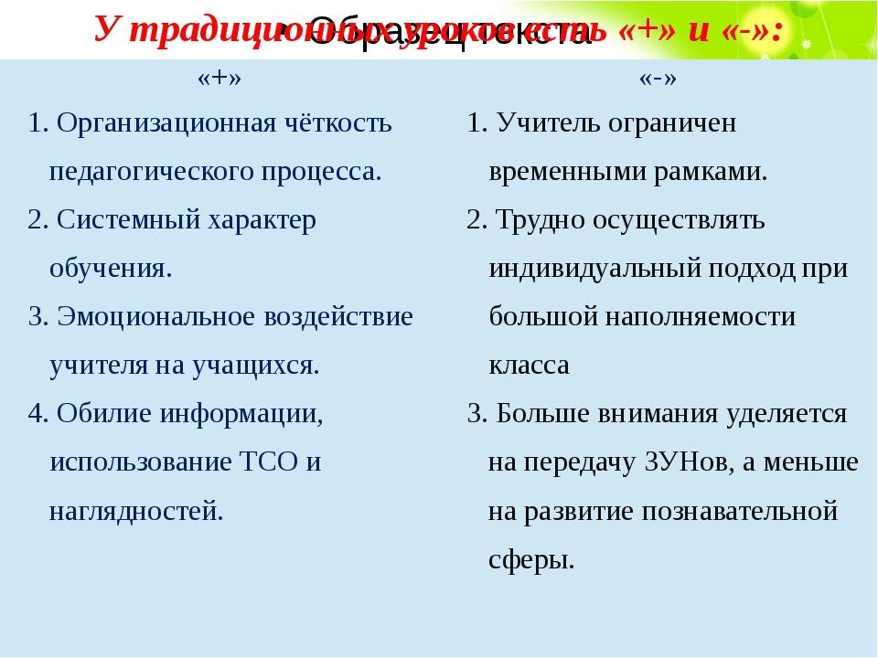 У традиционных уроков есть «+» и «-»: «+» «-» 1.Организационнаячёткость педа...