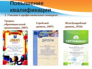 Повышение квалификации 3. Участие в профессиональных конкурсах Уровень образо