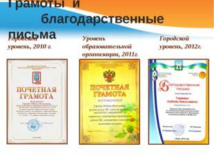 Грамоты и благодарственные письма Уровень образовательной организации, 2011г.