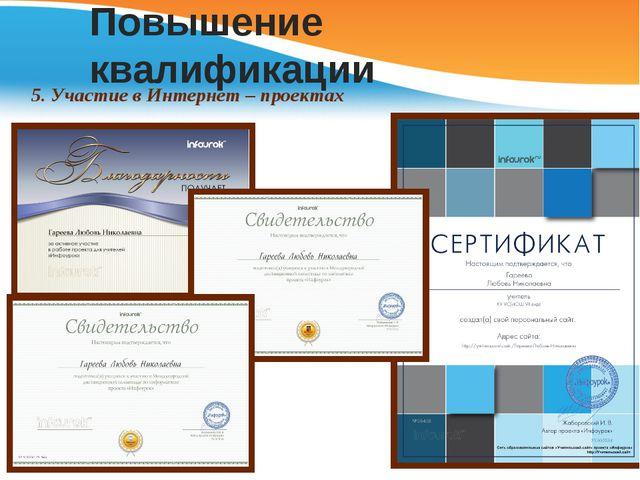 Повышение квалификации 5. Участие в Интернет – проектах