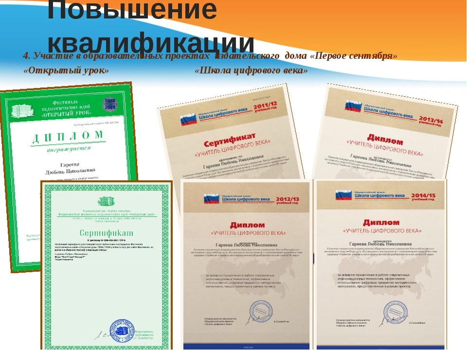 Повышение квалификации 4. Участие в образовательных проектах издательского до...