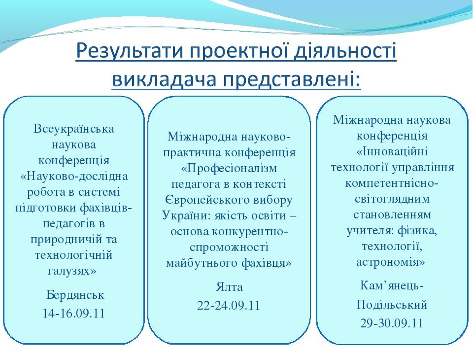 Всеукраїнська наукова конференція «Науково-дослідна робота в системі підготов...