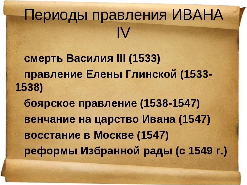 Периоды правления ИВАНА IV смерть Василия III (1533) правление Елены Глинской...