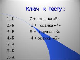 Ключ к тесту : 1.-Г 7 + оценка «5» 2.-Б 6 + оценка «4» 3.-В 5 + оценка «3» 4.