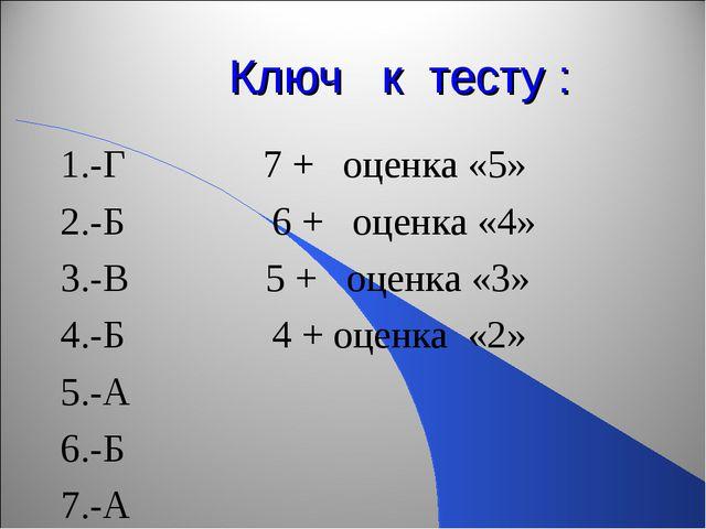 Ключ к тесту : 1.-Г 7 + оценка «5» 2.-Б 6 + оценка «4» 3.-В 5 + оценка «3» 4....