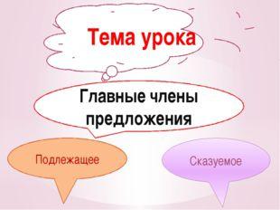 Подлежащее Тема урока Главные члены предложения Подлежащее Сказуемое