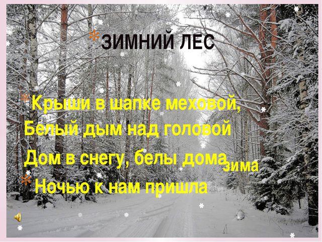 ЗИМНИЙ ЛЕС Крыши в шапке меховой, Белый дым над головой Дом в снегу, белы дом...