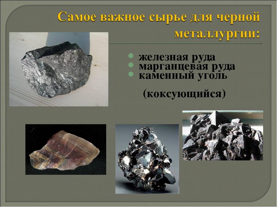 железная руда марганцевая руда каменный уголь (коксующийся)