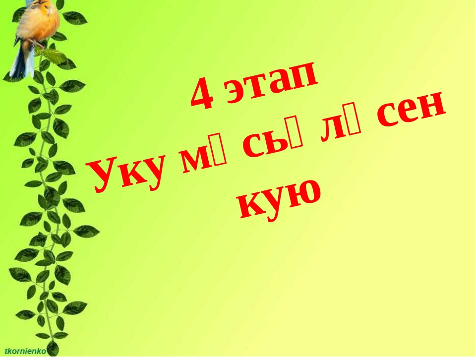 4 этап Уку мәсьәләсен кую