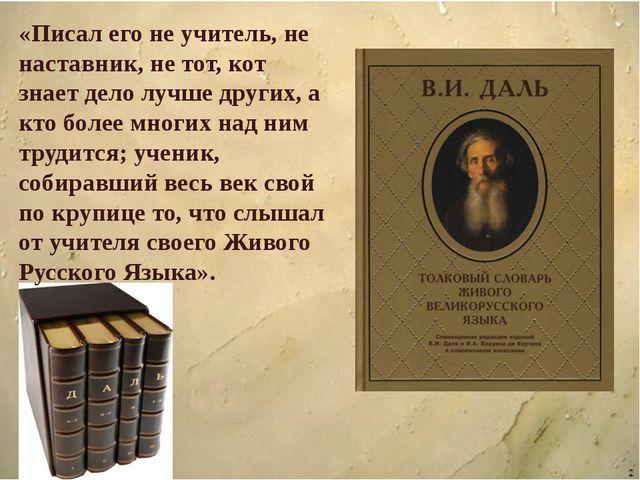 «Писал его не учитель, не наставник, не тот, кот знает дело лучше других, а...