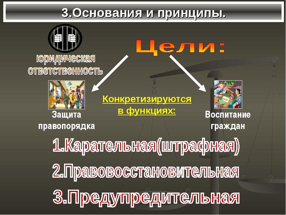 3.Основания и принципы. Конкретизируются в функциях: