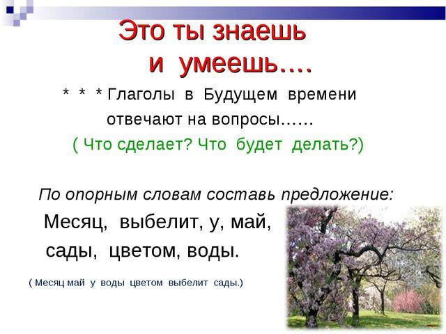 Это ты знаешь и умеешь…. * * * Глаголы в Будущем времени отвечают на вопросы...