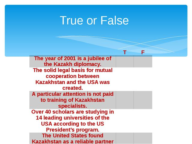 True or False   T F The year of 2001 is a jubilee of the Kazakh diplomacy.  ...