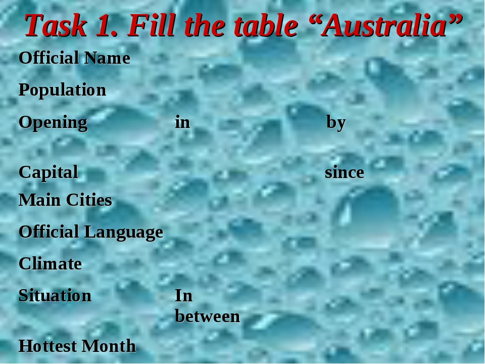"Task 1. Fill the table ""Australia"""