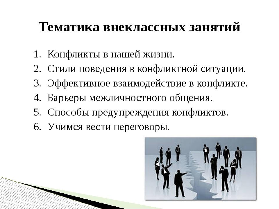 1. Конфликты в нашей жизни. 2. Стили поведения в конфликтной ситуации. 3....