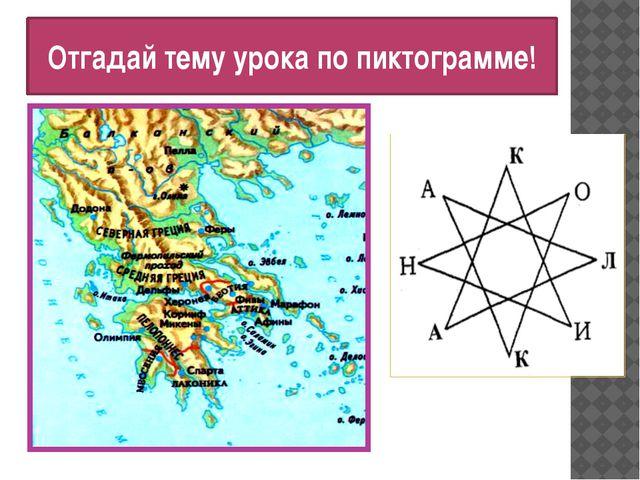 Отгадай тему урока по пиктограмме!