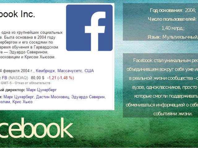 Facebook Год основания: 2004; Число пользователей: 1,40 млрд.; Язык:Мультия...