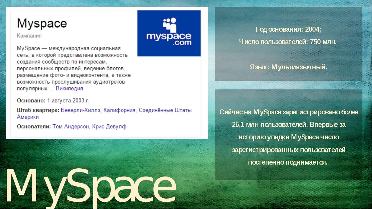 MySpace Год основания: 2004; Число пользователей:750 млн. Язык:Мультиязычны...