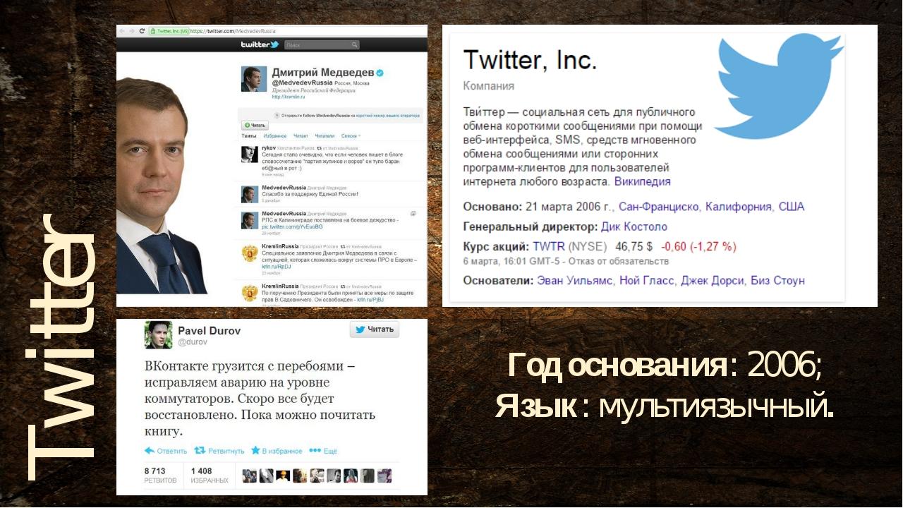 Год основания: 2006; Язык:мультиязычный. Twitter