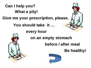 Can I help you? Give me your prescription, please. You should take it … every