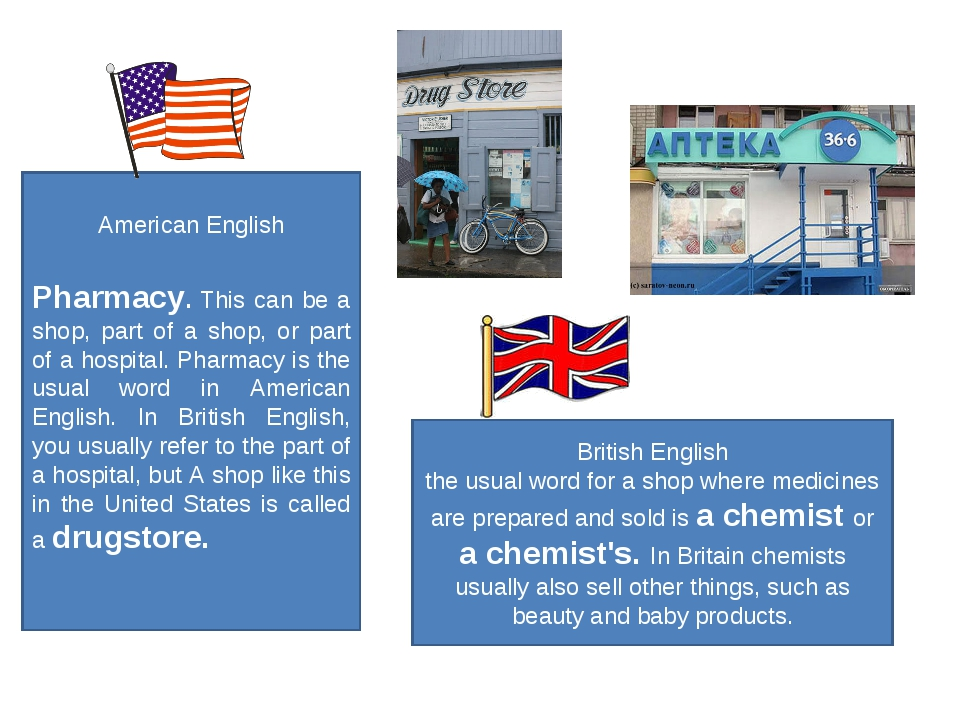 American English Pharmacy. This can be a shop, part of a shop, or part of a h...
