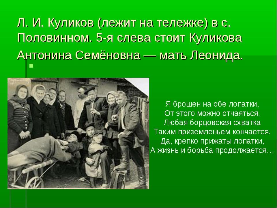 Л. И. Куликов (лежит на тележке) в с. Половинном. 5-я слева стоит Куликова А...