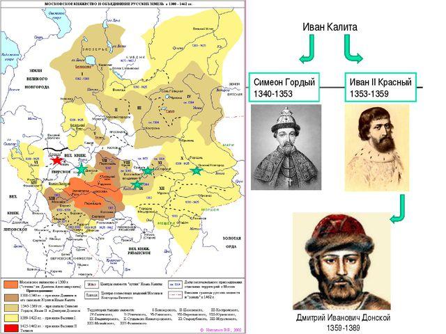 Иван Калита Симеон Гордый 1340-1353 Иван II Красный 1353-1359 Дмитрий Иванови...