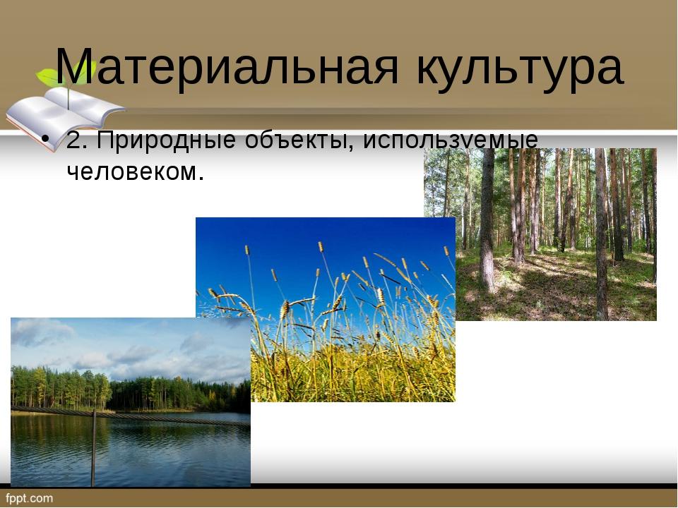 Материальная культура 2. Природные объекты, используемые человеком.