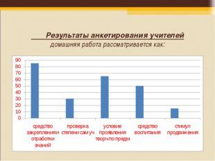 Результаты анкетирования учителей домашняя работа рассматривается как: