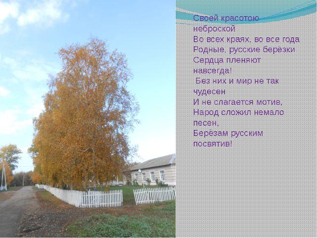 Своей красотою неброской Во всех краях, во все года Родные, русские берёзки С...