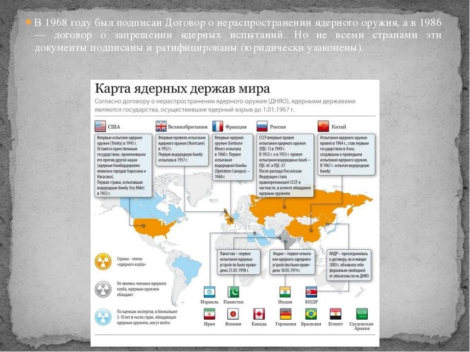 В 1968 году был подписан Договор о нераспространении ядерного оружия, а в 198...