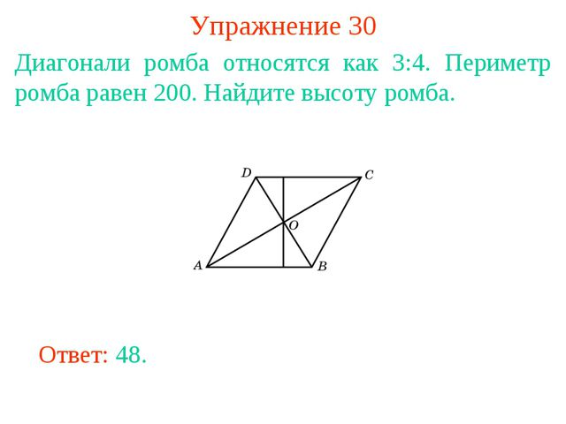 Упражнение 30 Диагонали ромба относятся как 3:4. Периметр ромба равен 200. На...