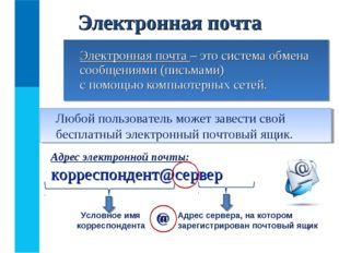 Электронная почта – это система обмена сообщениями (письмами) с помощью комп