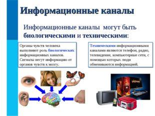 Информационные каналы Информационные каналы могут быть биологическими и техни
