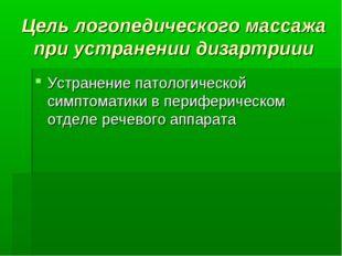 Цель логопедического массажа при устранении дизартриии Устранение патологичес
